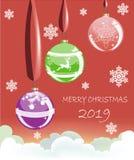 Bolas do Natal em fitas com os flocos de neve no fundo ilustração do vetor