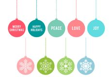 Bolas do Natal, grupo do vetor Fotos de Stock Royalty Free