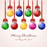 Bolas do Natal no fundo estrelado Fotos de Stock