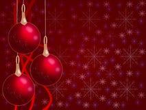 Bolas do Natal que penduram com fitas Imagem de Stock