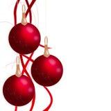 Bolas do Natal que penduram com fitas Foto de Stock Royalty Free