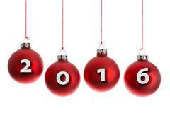 Bolas do Natal que penduram em uma corda com texto 2016 Fotografia de Stock