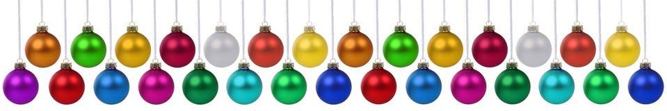 Bolas do Natal suspensão da decoração da bandeira de muitas quinquilharias isolada Fotos de Stock