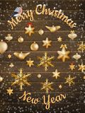 Bolas do ornamento do Natal do ouro com estrela Eps 10 Fotografia de Stock Royalty Free