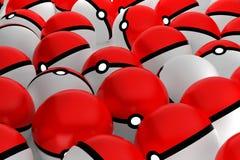 bolas do puxão da rendição 3D, jogo de Pokemon, ilustração Foto de Stock Royalty Free