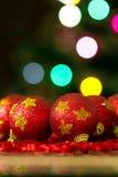 Bolas do vermelho da árvore de Natal Imagens de Stock Royalty Free