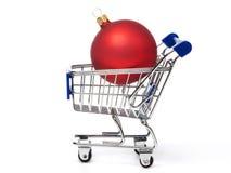 Bolas do vermelho dos carrinhos de compras e do Natal Imagens de Stock