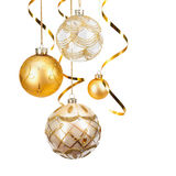 Bolas douradas do Natal Foto de Stock