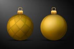 Bolas douradas do Natal com suportes dourados Grupo de decorações realísticas isoladas no fundo preto ilustração do vetor