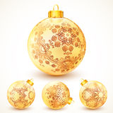 Bolas douradas do Natal do vintage ornamentado ajustadas Foto de Stock Royalty Free