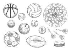 Bolas, duende malicioso de hockey y artículos bosquejados de los dardos ilustración del vector