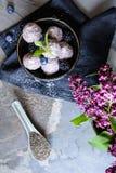 Bolas dulces de la semilla del chia con pur? del ar?ndano y de la zarzamora imagenes de archivo