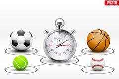 Bolas e cronômetro realísticos do esporte com marcadores ilustração do vetor