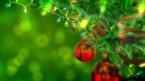 Bolas e festões vermelhas em uma árvore de Natal verde Animação 3d dando laços video estoque