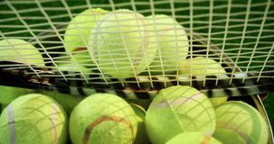 Bolas e raquete de tênis na cubeta no estúdio 4k video estoque