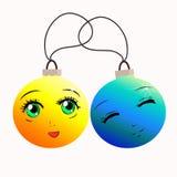Bolas engraçadas do Natal no estilo dos desenhos animados Bolas amarelas e azuis Imagem de Stock Royalty Free
