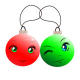 Bolas engraçadas do Natal no estilo dos desenhos animados Esferas vermelhas e verdes Fotografia de Stock Royalty Free