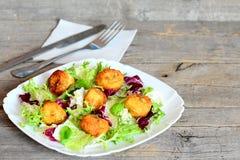 Bolas fritas curruscantes de la patata Bolas fritas sabrosas del puré de patata con las semillas de calabaza adornadas con lechug Imagen de archivo libre de regalías
