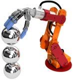 Bolas industriales de la tecnología del brazo del robot Fotografía de archivo libre de regalías