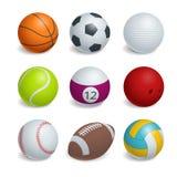Bolas isométricas dos esportes ajustadas Foto de Stock Royalty Free