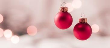 Bolas luminosas do Natal Fotografia de Stock