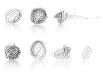 Bolas negras del garabato - penachos de la cuerda de rosca Fotografía de archivo libre de regalías