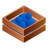 Bolas no ícone de madeira da caixa, estilo isométrico ilustração royalty free