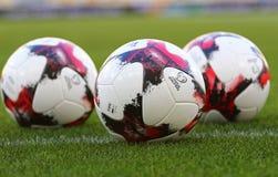 Bolas oficiais do fósforo do campeonato do mundo 2018 de FIFA Foto de Stock Royalty Free