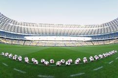 Bolas oficiais do fósforo do campeonato do mundo 2018 de FIFA Fotografia de Stock Royalty Free