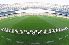 Bolas oficiales del partido del mundial 2018 de la FIFA Imagenes de archivo