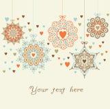 Bolas ornamentado do Natal nos corações ilustração stock