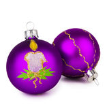 Bolas púrpuras de la Navidad Fotos de archivo libres de regalías