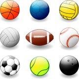 Bolas para los varios deportes Fotos de archivo libres de regalías