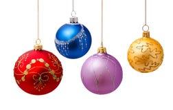 Bolas perfeitas do Natal isoladas no branco Fotos de Stock Royalty Free