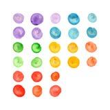 Bolas pintadas a mano coloridas de la acuarela Fotos de archivo libres de regalías