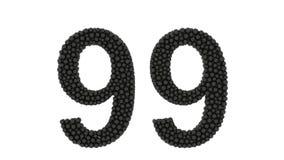Bolas pretas pequenas que formam o número 99