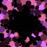 Bolas que brillan intensamente del rosa y violetas en la representación negra del fondo 3d Fotos de archivo libres de regalías