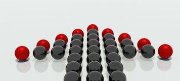 Bolas reflejadas en dimensión de una variable de la flecha Foto de archivo