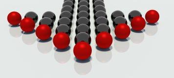 Bolas reflejadas en dimensión de una variable de la flecha Imagen de archivo libre de regalías