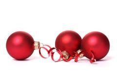 Bolas rojas de la Navidad Imágenes de archivo libres de regalías