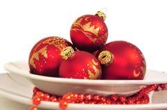 Bolas rojas de la Navidad Fotos de archivo