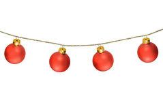 Bolas rojas de la Navidad aisladas en blanco Fotografía de archivo libre de regalías