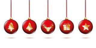 Bolas rojas de la Navidad con la decoración de oro ilustración del vector