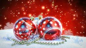 Bolas rojas y de plata de la Navidad en nieve con el fondo del bokeh del brillo Lazo inconsútil 3d rinden