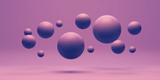 Bolas roxas plásticas que voam no fundo roxo, ilustração 3d Foto de Stock Royalty Free
