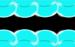 Bolas simples tridimensionais lisas bonitas e convexas brilhantes abstratas azuis, bolhas, círculos com o brilho da luz encontrad ilustração do vetor