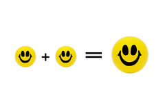Bolas sonrientes amarillas - tres Imagenes de archivo