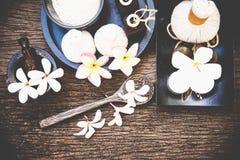 Bolas tailandesas da compressa da massagem dos termas, bola erval e termas do tratamento com flor, Tailândia Foto de Stock