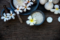 Bolas tailandesas de la compresa del masaje del balneario, bola herbaria y balneario del tratamiento con la flor, Tailandia Conce Imágenes de archivo libres de regalías