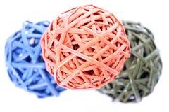 Bolas tejidas coloridas Fotografía de archivo